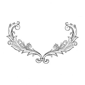 Ornement floral baroque pour cadre et coin de bordure.