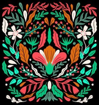 Ornement floral décoratif ethno folk.