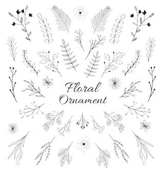 Ornement floral dessiné à la main noir et blanc.