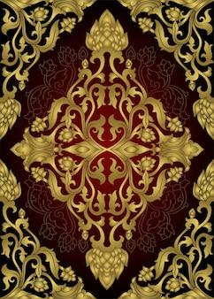 Ornement floral ornemental. motif doré médiéval.