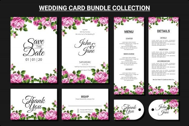 Ornement floral pour jeu de collection de cartes de mariage