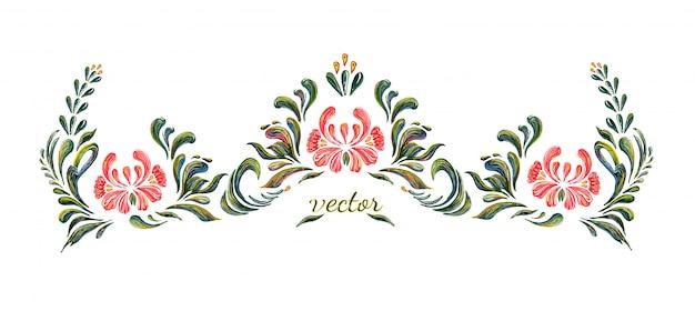 Ornement floral vintage dessiné à la main