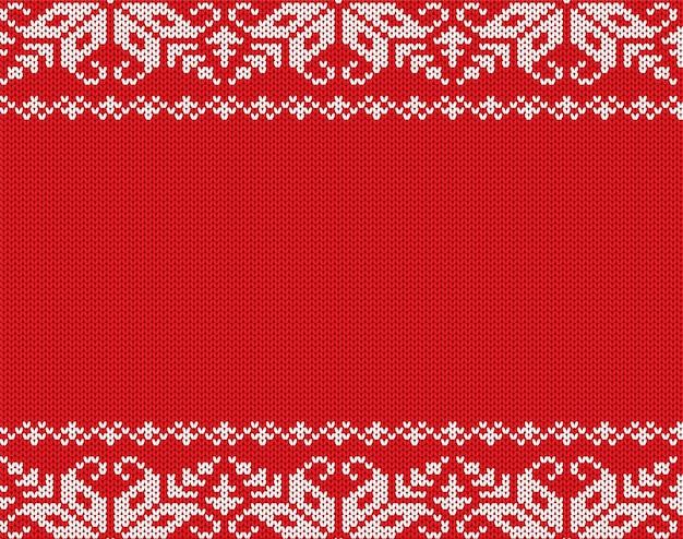 Ornement géométrique floral tricoté de noël avec un espace vide pour le texte
