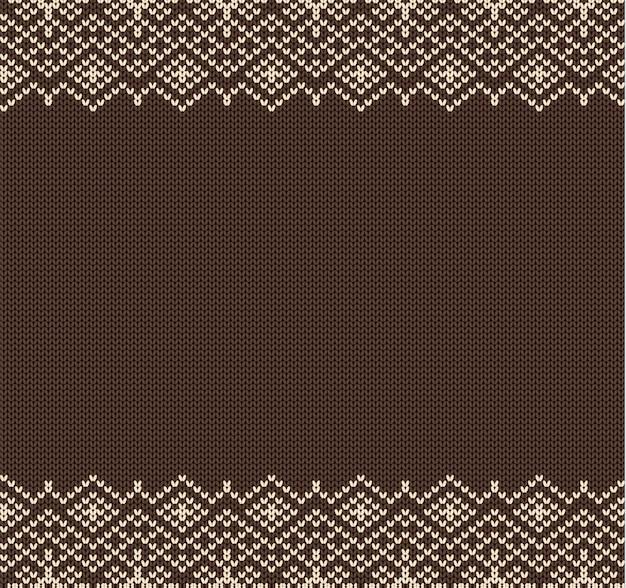 Ornement géométrique de noël en tricot avec un espace vide pour le texte. modèle sans couture de vacances.