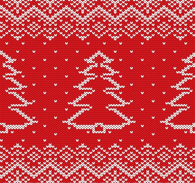 Ornement géométrique de noël en tricot avec des sapins et des flocons de neige