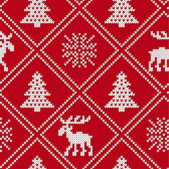 Ornement géométrique en tricot de noël avec des orignaux et des arbres de noël.
