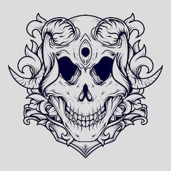 Ornement de gravure de crâne de diable illustration dessinée à la main en noir et blanc