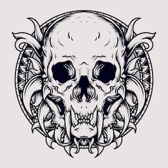 Ornement de gravure de crâne de monstre illustration dessinée à la main en noir et blanc