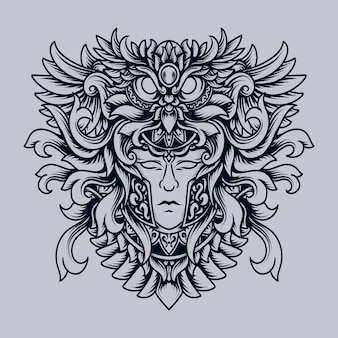 Ornement de gravure de hibou humain illustration dessinée à la main en noir et blanc