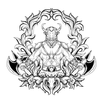 Ornement de gravure minotaure illustration dessinée à la main en noir et blanc