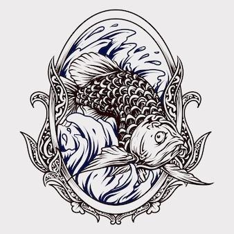 Ornement de gravure de poisson arowana dessiné à la main noir et blanc