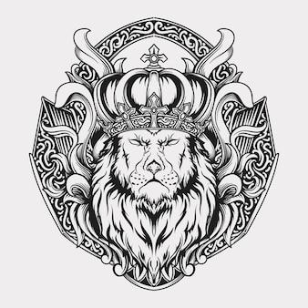 Ornement de gravure de roi lion dessiné à la main noir et blanc