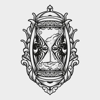 Ornement de gravure de sablier de conception de tatouage et de t-shirt