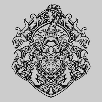 Ornement de gravure de scorpion dessiné à la main en noir et blanc
