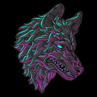 Ornement de gravure tête de loup