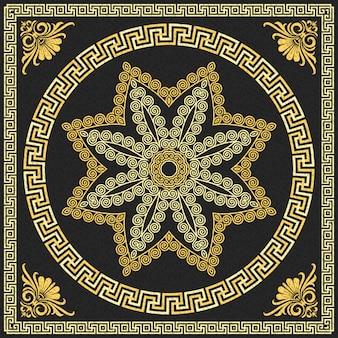 Ornement grec traditionnel or vintage vector (méandre)