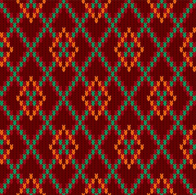 Ornement jacquard en laine tricotée sans couture bourgogne royal