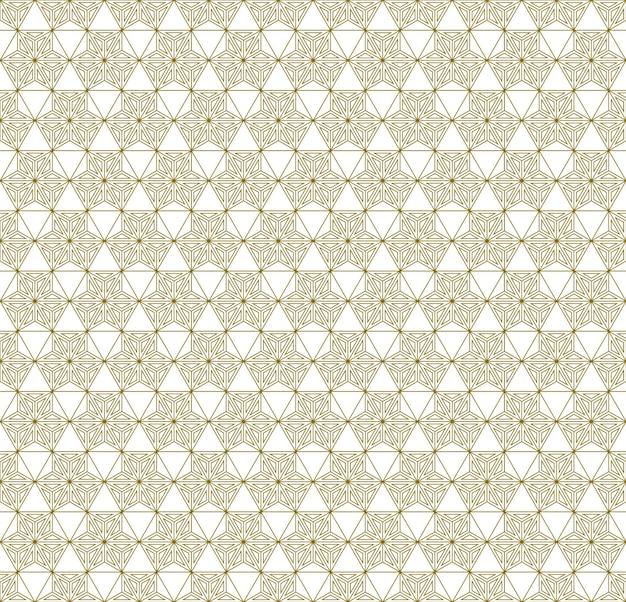 Ornement japonais traditionnel sans couture kumiko. lignes de couleur dorées.