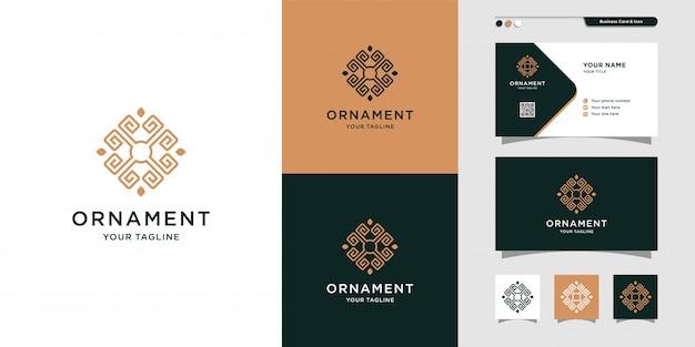 Ornement ligne art logo et conception de carte de visite, luxe, abstrait, beauté, icône premium