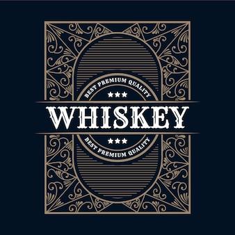 Ornement de logo calligraphique cadre de bordure de luxe vintage étiquette antique occidentale gravure dessinée à la main rétro pour la bière artisanale bière artisanale vin whisky boisson liqueur bar boutique hôtel & restaurant