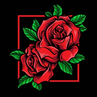 Ornement de logo vectoriel de roses rouges
