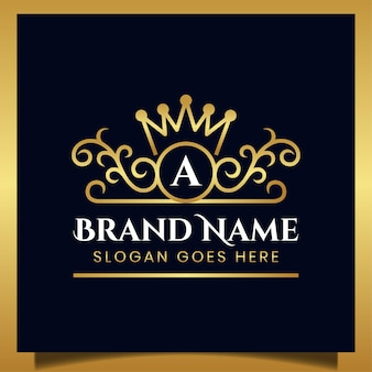Ornement de luxe élégant avec la lettre initiale et la conception de la couronne pour votre modèle de logo de marque royale