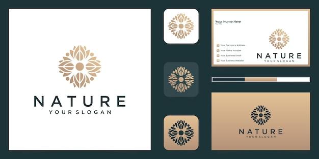 Ornement de luxe rose florale élégante minimaliste avec style d'art en ligne. les logos peuvent être utilisés pour la beauté, les cosmétiques, le yoga et le spa. logo et carte de visite