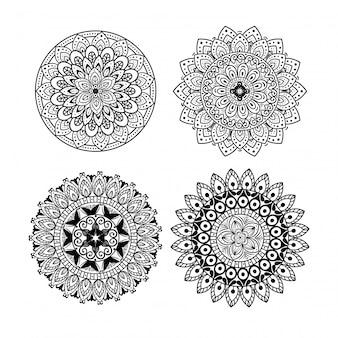 Ornement de mandala floral mis icônes sur fond blanc, luxe vintage, décoration ornementale