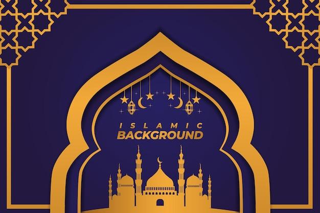Ornement de mosquée de fond islamique dégradé violet doré