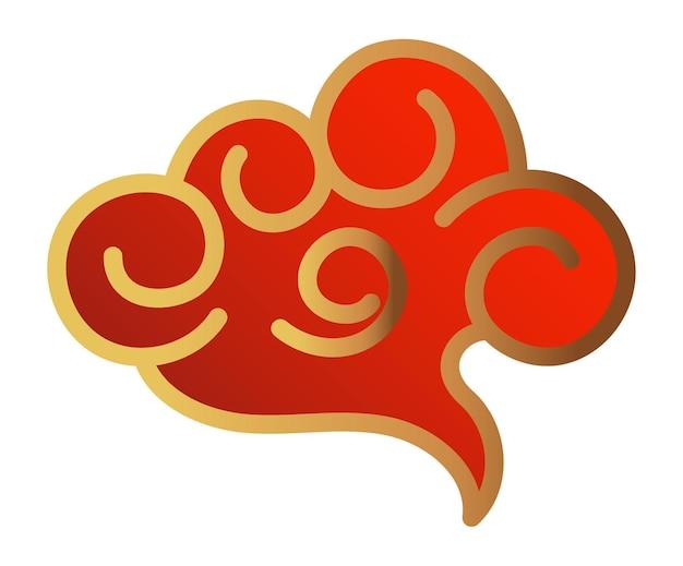 Ornement de nuage asiatique oriental. symbole d'or rouge de nuages chinois