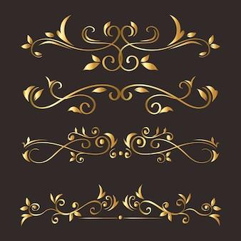 Ornement or sur fond gris du thème de l'élément décoratif