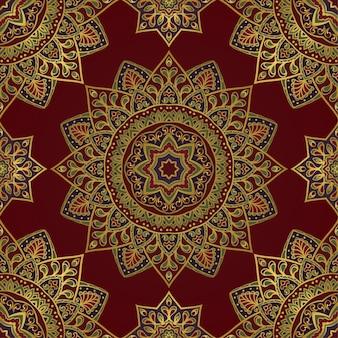 Ornement oriental rouge avec des mandalas.