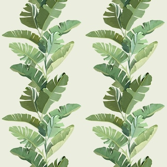 Ornement de papier peint décoratif de forêt tropicale avec des feuilles et des branches de palmier de banane tropicale verte. modèle sans couture, imprimé tropical botanique sur fond beige. papier, design textile. illustration vectorielle