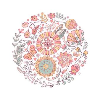 Ornement de papillons, fleurs et coléoptères lumineux dessinés à la main.