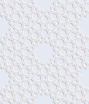 Ornement en relief. motif arabe. gris avec de l'or vector