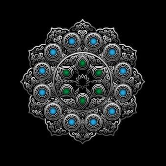 Ornement rond en argent avec pierres précieuses bleues et vertes - style arabe, islamique et oriental
