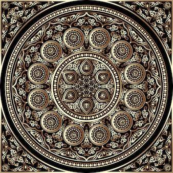 Ornement rond en bois 3d - style arabe, islamique et oriental