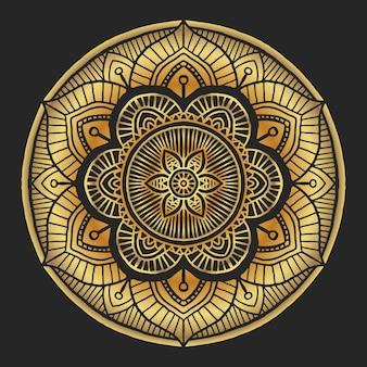 Ornement rond décoratif de luxe mandala doré