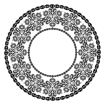 Ornement rond noirpour la conception de cadres menus invitations de mariagenoir et blanc