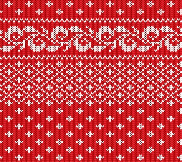 Ornement sans couture floral rouge et blanc de noël tricoté. conception de texture de pull d'hiver en tricot de noël.