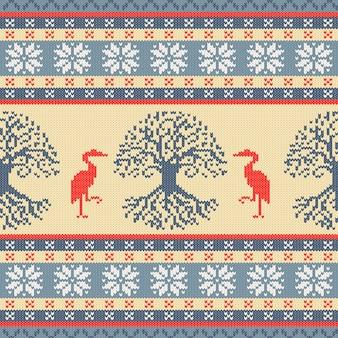 Ornement sans couture en laine tricotée