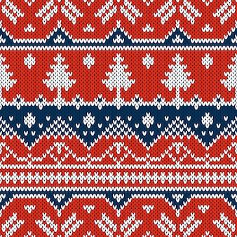 Ornement sans soudure de vecteur sur la texture tricotée