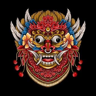 Ornement de style de gravure barong rangda bali dessiné à la main avec décoration isolée de mandala