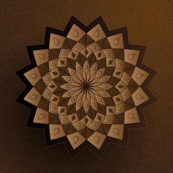 Ornement de style papier avec couleur marron, décoration islamique