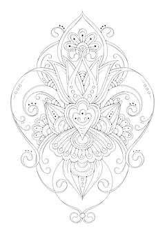 Ornement symétrique, coloriage de fleur