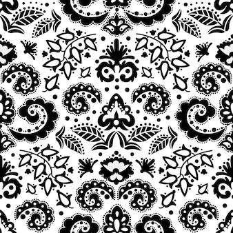 Ornement tatar oriental noir ethnique doodle folk seamless pattern vector illustration pour tissu imprimé et papier numérique