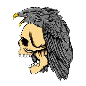 L'ornement de la tête d'aigle sur la tête du crâne mort