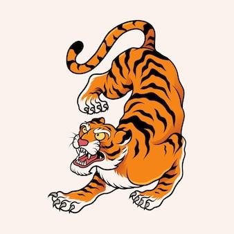 Ornement de tigre avec un style de tatouage traditionnel