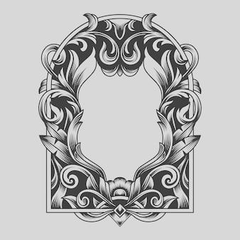 Ornement traditionnel cadre noir et blanc