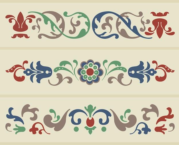 Ornement traditionnel russe en trois versions en vecteur